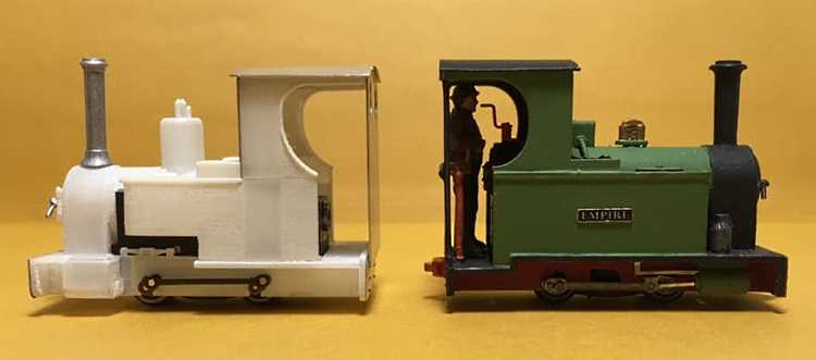 The prototype kit for the next loco from 6point5 Minimum Gauge - the Exmoor style 0-4-0T seen here unpainted and painted