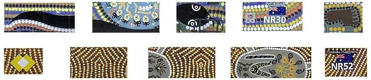 detail samples of some of the Indigenous artwork on the new NR models from SDS Models