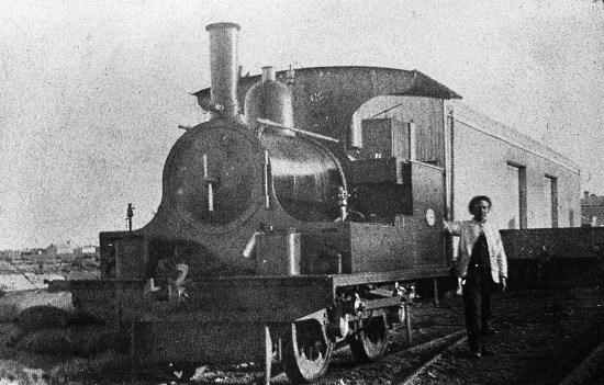 "An 0-4-0 described as ""the Kitson"" shunting the wharf at Port Germain in South Australia in 1890"