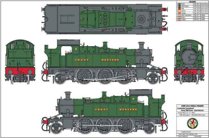 The initial artwork for Lionheart Trains O Scale 45xx loco