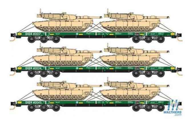 Department of Defence 6-axle, 68′ flatcars each loaded with 2 Abrams tanks from MTL