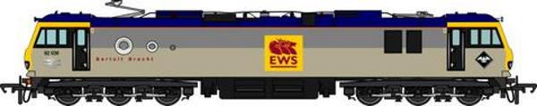One of the EWS versions of the OO scale Class 92 loco to be produced by Accurascale