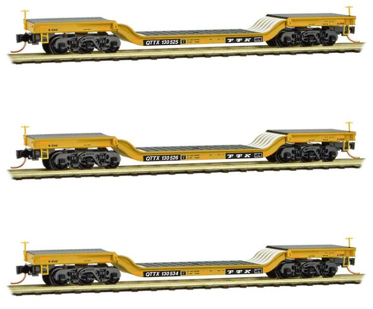 modern era depressed-centre flat cars in N scale by MTL available in 32-packs from your dealer