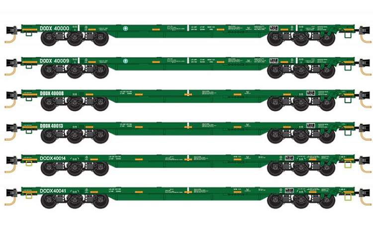 DODX heavy flat cars in N scale from MTL - available as a six pack in May but open for pre-orders now