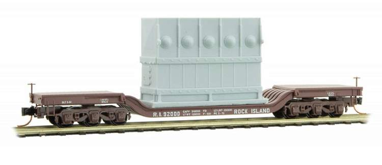 Rock Island depressed-centre flat car with generator load in N scale from MTL - available now