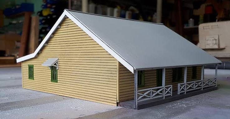 The view of the HO scale model of Paterson Station Masters house that will be released soon by Model Train Buildingsside
