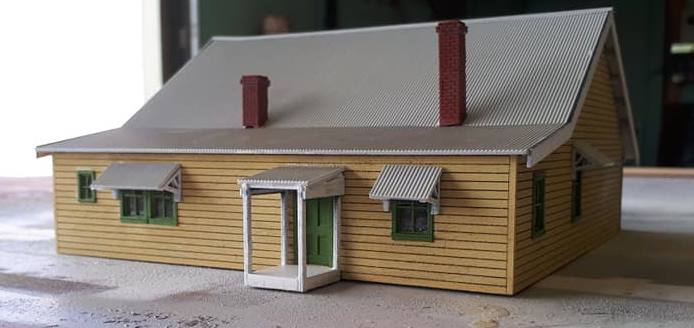 The rear view of the HO scale model of Paterson Station Masters house that will be released soon by Model Train Buildings