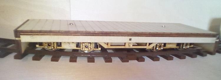 The new bogie flat wagon in 7/8th scale from North Pilton Works