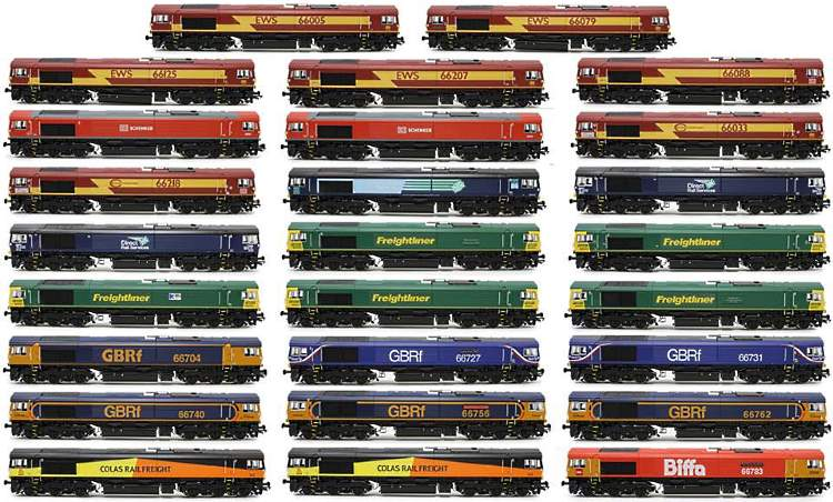 all the different liveries that will be available on the new OO scake 66 Class diesel from Hattons