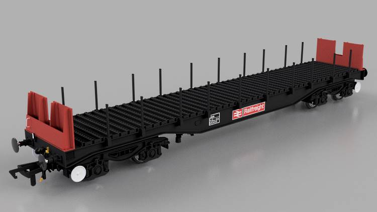 The red and black version of the 50' BBA steel wagon in OO scale from Cavalex models