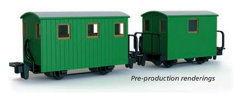 Pre-production samples of a pair of 4-wheel Ffestiniog brake van kitscoming later in the year from Peco