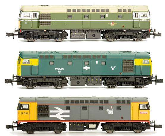 Some of the liveries for the new Dapol N scale 26 class loco
