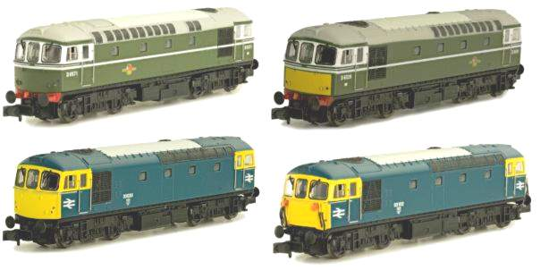 Some of the liveries for the new Dapol N scale 33 class