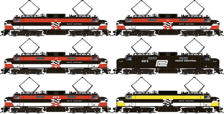 The six different paint schemes that will be available on Rapido Trains Inc's new New Haven EP-5 electric loco in HO Scale