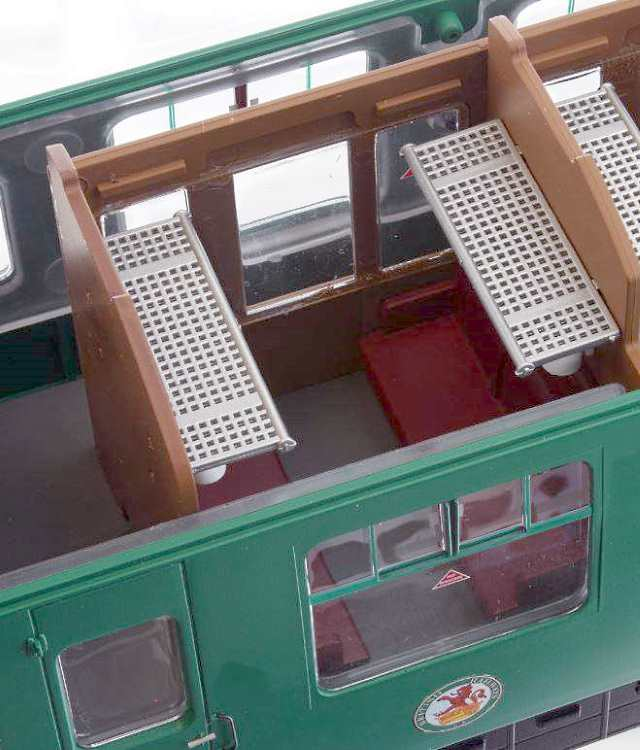 Photo showing the interior detail in a passenger compartment in one of Lionheart Trains new O scale coaches