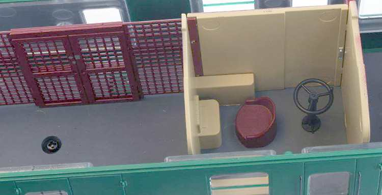 Photo showing the interior detail in the guard's compartment of one of Lionheart Trains new O scale coaches