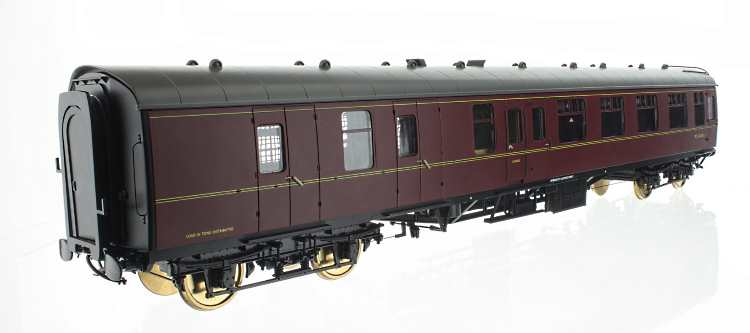 Maroon colour samples of Lionheart Trains O scale MK1 coaches