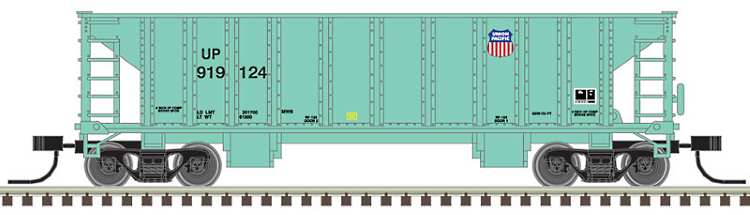 An artist's drawing of the new 41' ballast hopper that Atlas have just released in a range of road names in N scale
