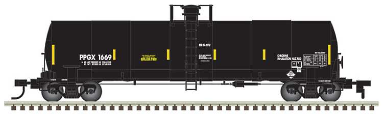 One of the N scale 17,360 gallon tank cars being offered with new road names and numbers in N scale by Atlas