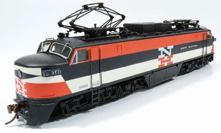 The red, black and white paint sample of Rapido Trains Inc's new New Haven EP-5 electric loco
