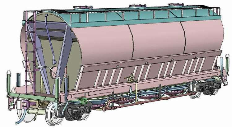 An early 3D rendering of Rapido Trains next piece of rolling stock - the HO Scale ACF 3,500 cu.ft. Flex Flo Hopper